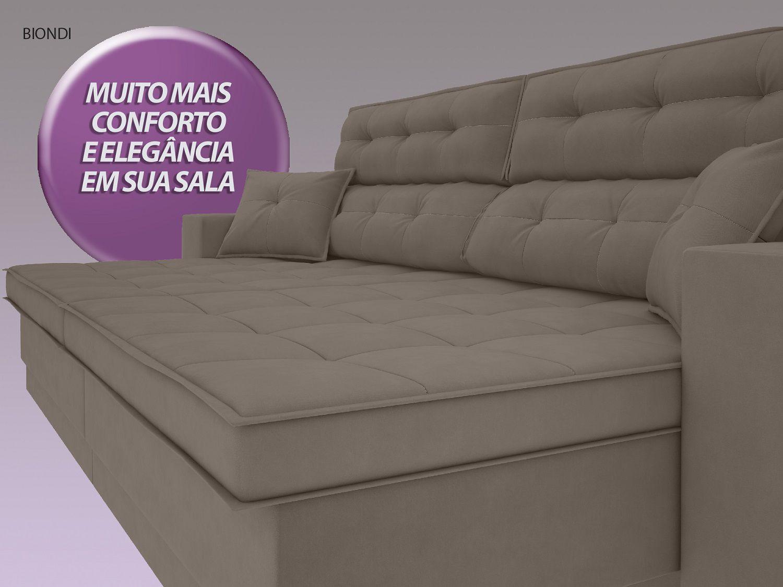 Sofá New Biondi 2,90m Retrátil e Reclinável Velosuede Bege - NETSOFAS