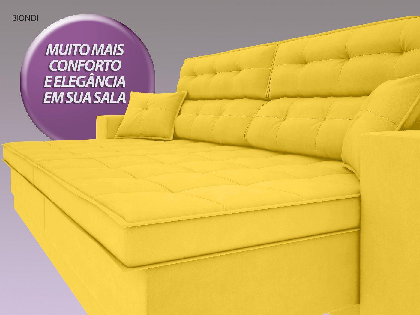 Sofá New Biondi 2,90m Retrátil e Reclinável Velosuede Canario  - NETSOFAS