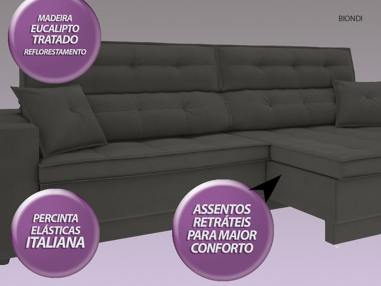 Sofá New Biondi 2,90m Retrátil e Reclinável Velosuede Cinza - NETSOFAS