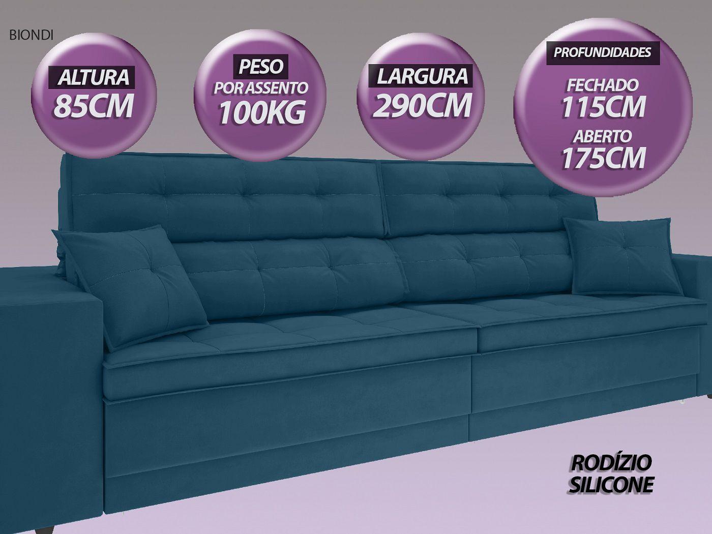 Sofá New Biondi 2,90m Retrátil e Reclinável Velosuede Royal  - NETSOFAS  - NETSOFÁS