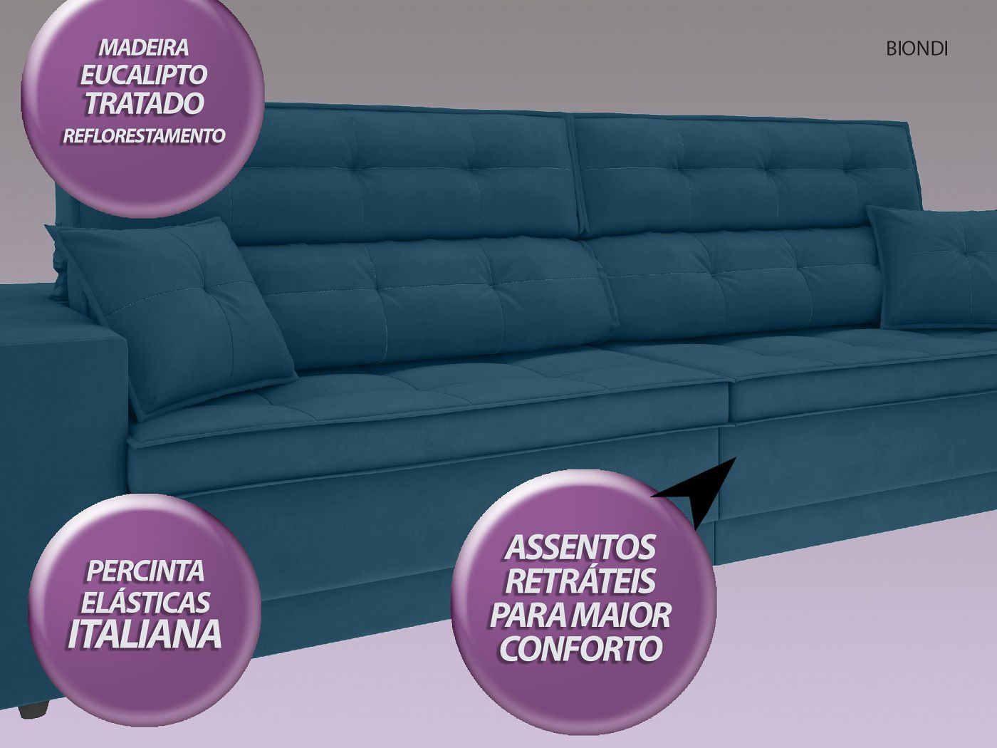 Sofá New Biondi 2,90m Retrátil e Reclinável Velosuede Royal  - NETSOFAS
