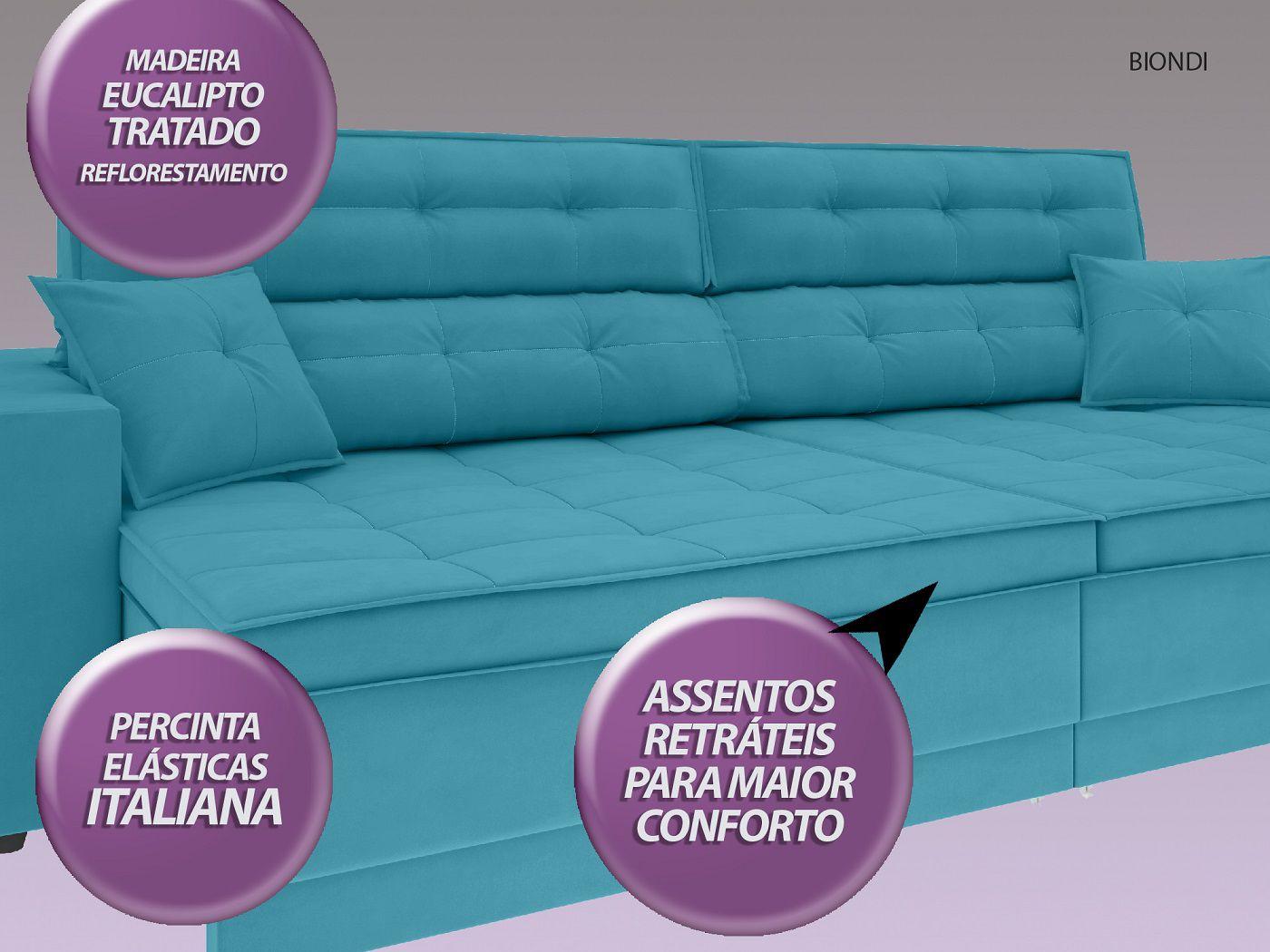Sofá New Biondi 2,90m Retrátil e Reclinável Velosuede Turquesa  - NETSOFAS  - NETSOFÁS