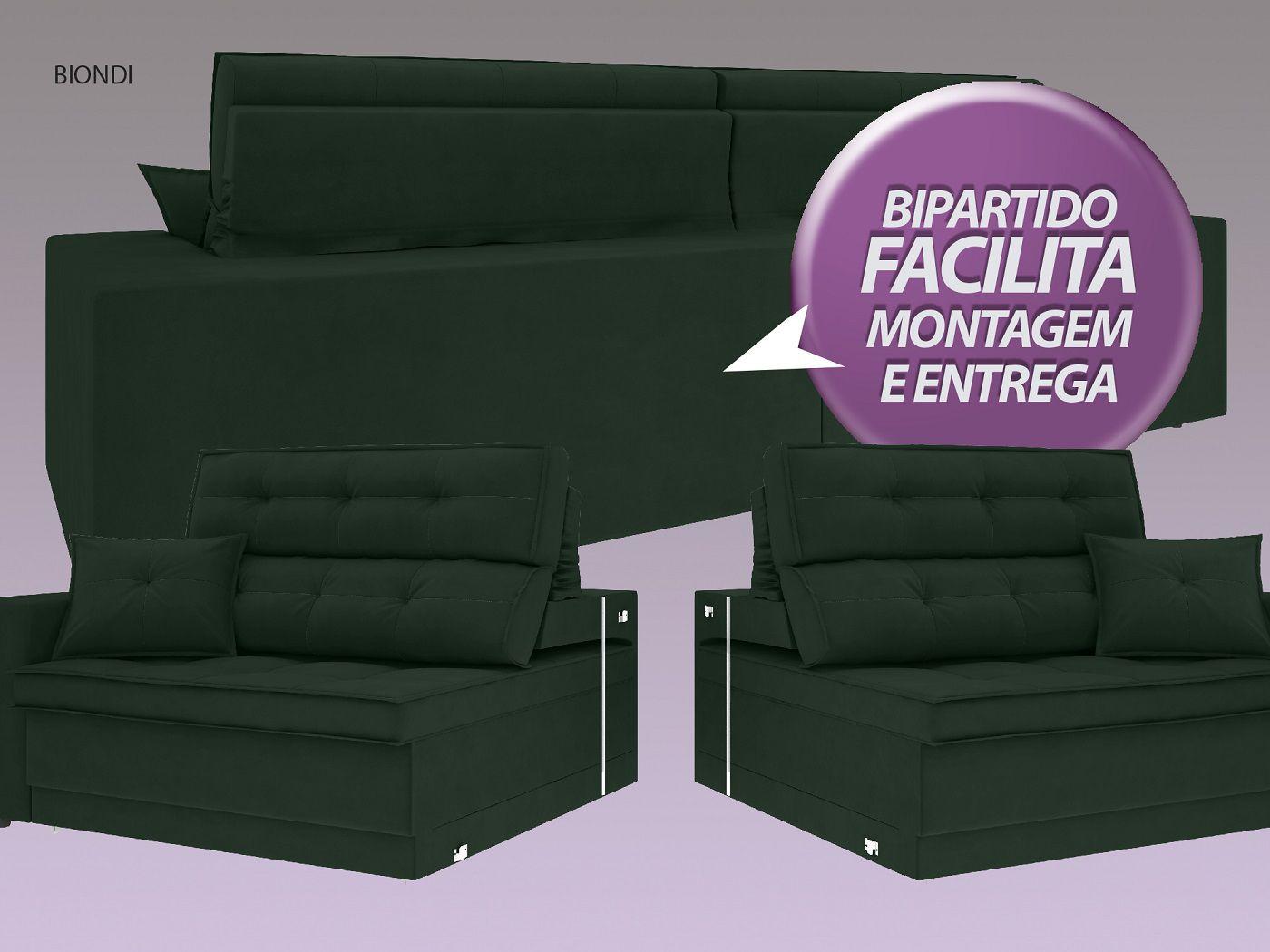 Sofá New Biondi 2,90m Retrátil e Reclinável Velosuede Verde  - NETSOFAS
