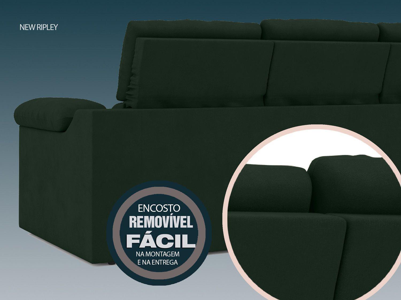 Sofá New Ripley 2,05m Assento Retrátil e Reclinável Velosuede Verde - NETSOFAS
