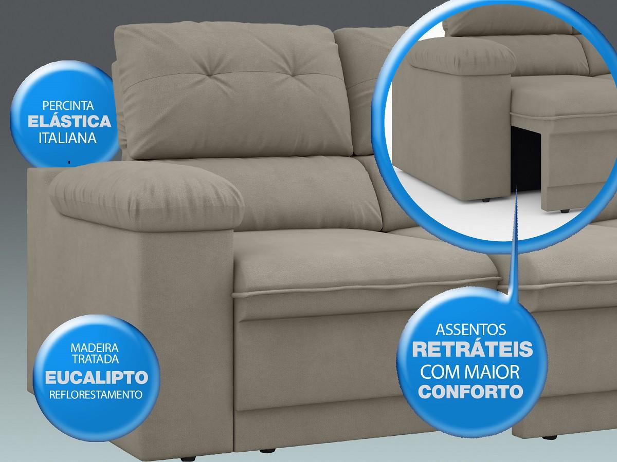 Sofá New Ripley 2,30m Assento Retrátil e Reclinável Velosuede Areia - NETSOFAS  - NETSOFÁS