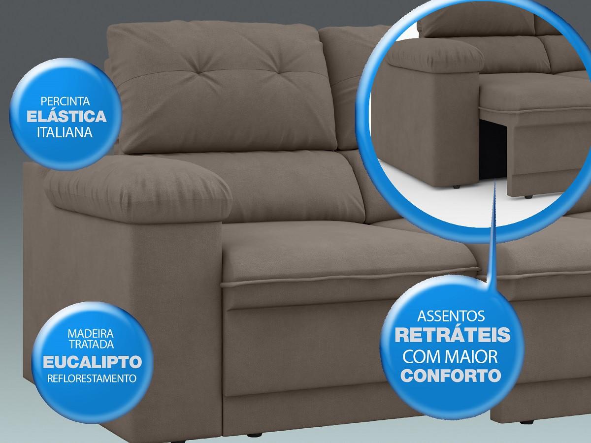 Sofá New Ripley 2,30m Assento Retrátil e Reclinável Velosuede Bege - NETSOFAS