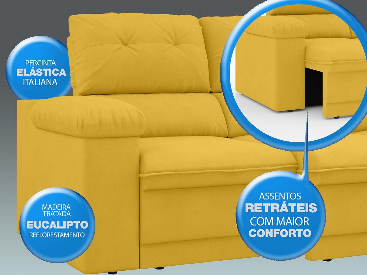 Sofá New Ripley 2,30m Assento Retrátil e Reclinável Velosuede Canário - NETSOFAS
