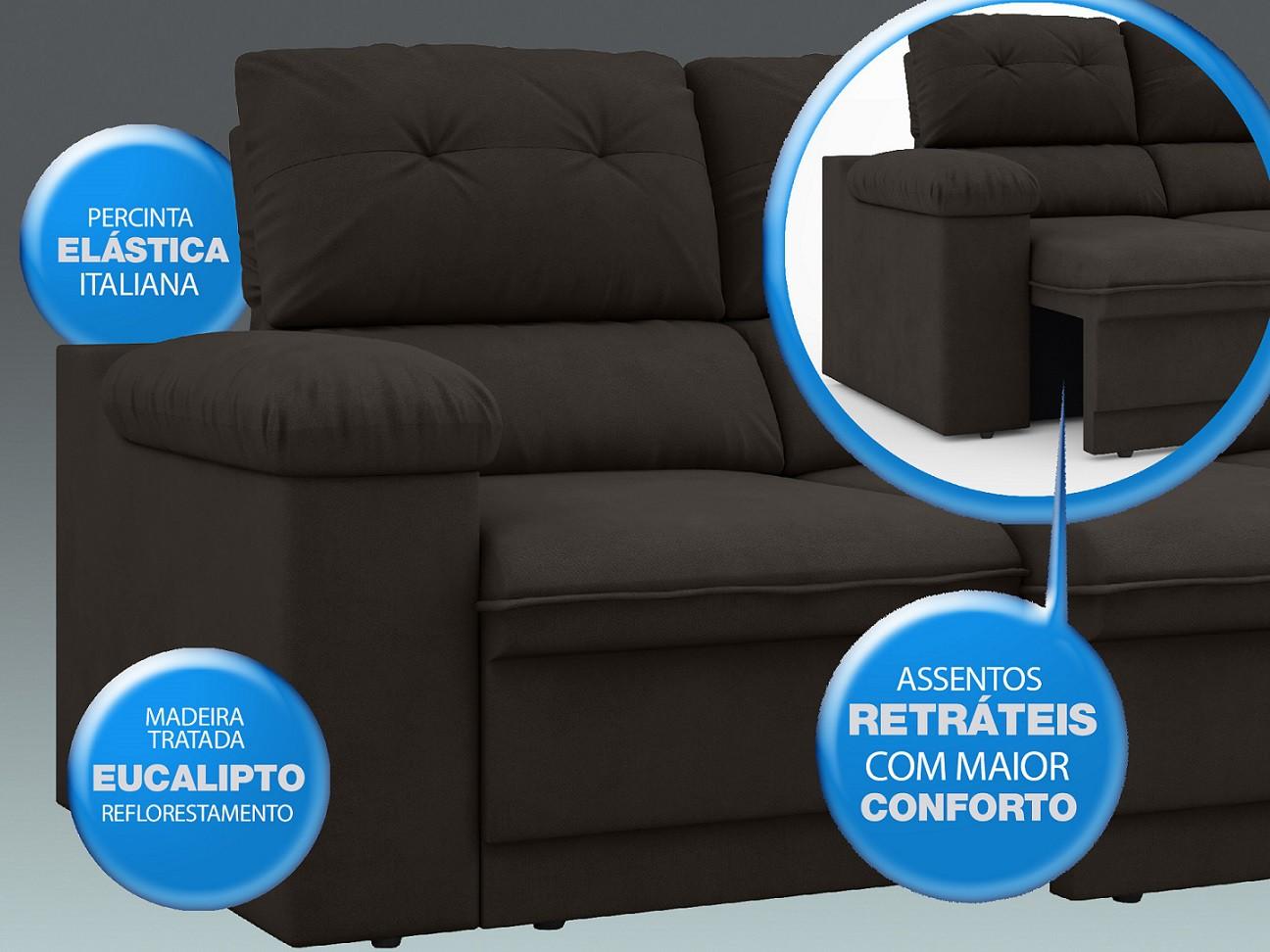Sofá New Ripley 2,30m Assento Retrátil e Reclinável Velosuede Chocolate - NETSOFAS