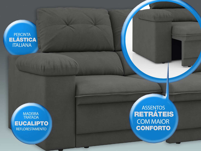 Sofá New Ripley 2,30m Assento Retrátil e Reclinável Velosuede Grafite - NETSOFAS  - NETSOFÁS