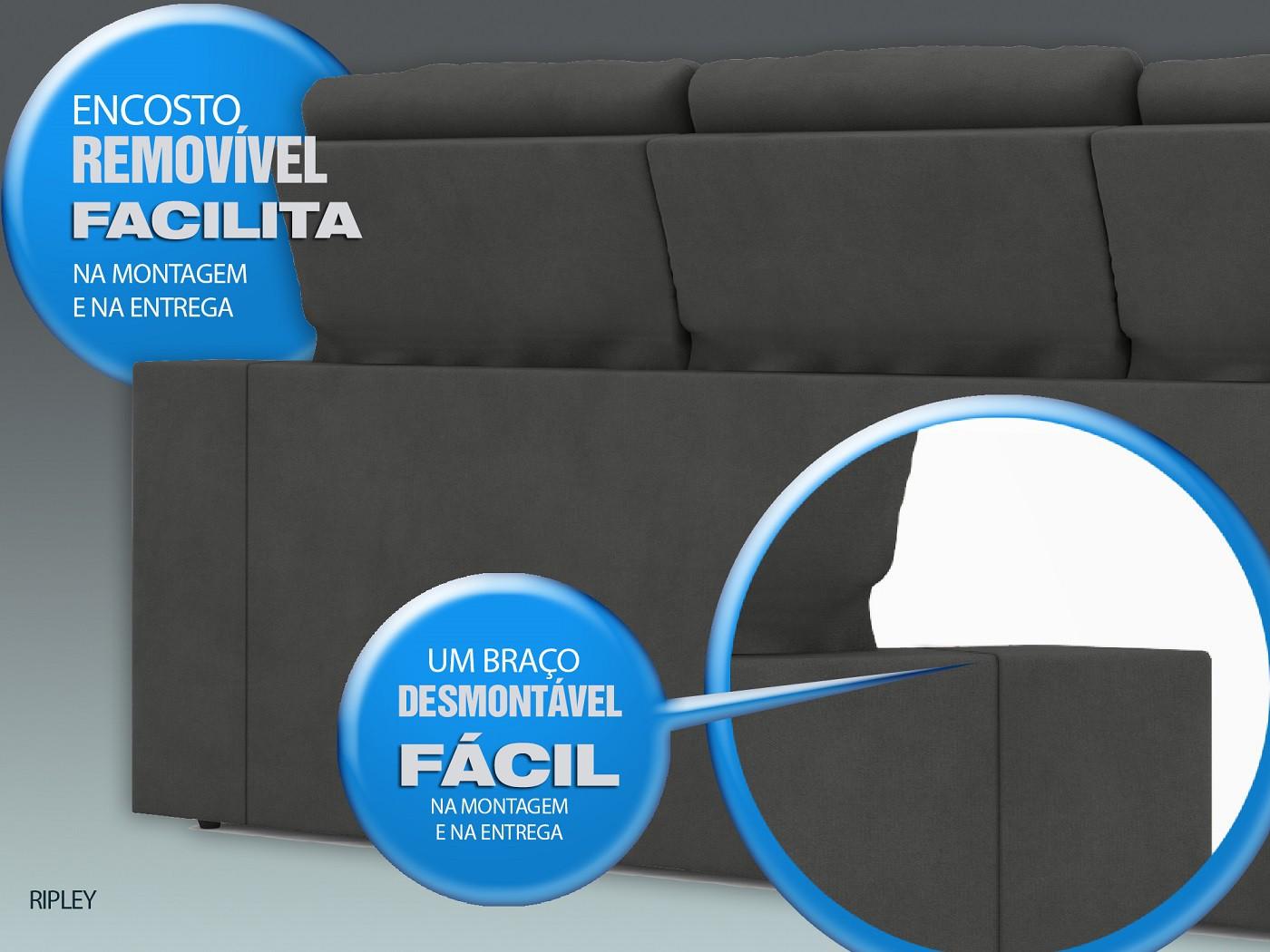 Sofá New Ripley 2,30m Assento Retrátil e Reclinável Velosuede Grafite - NETSOFAS