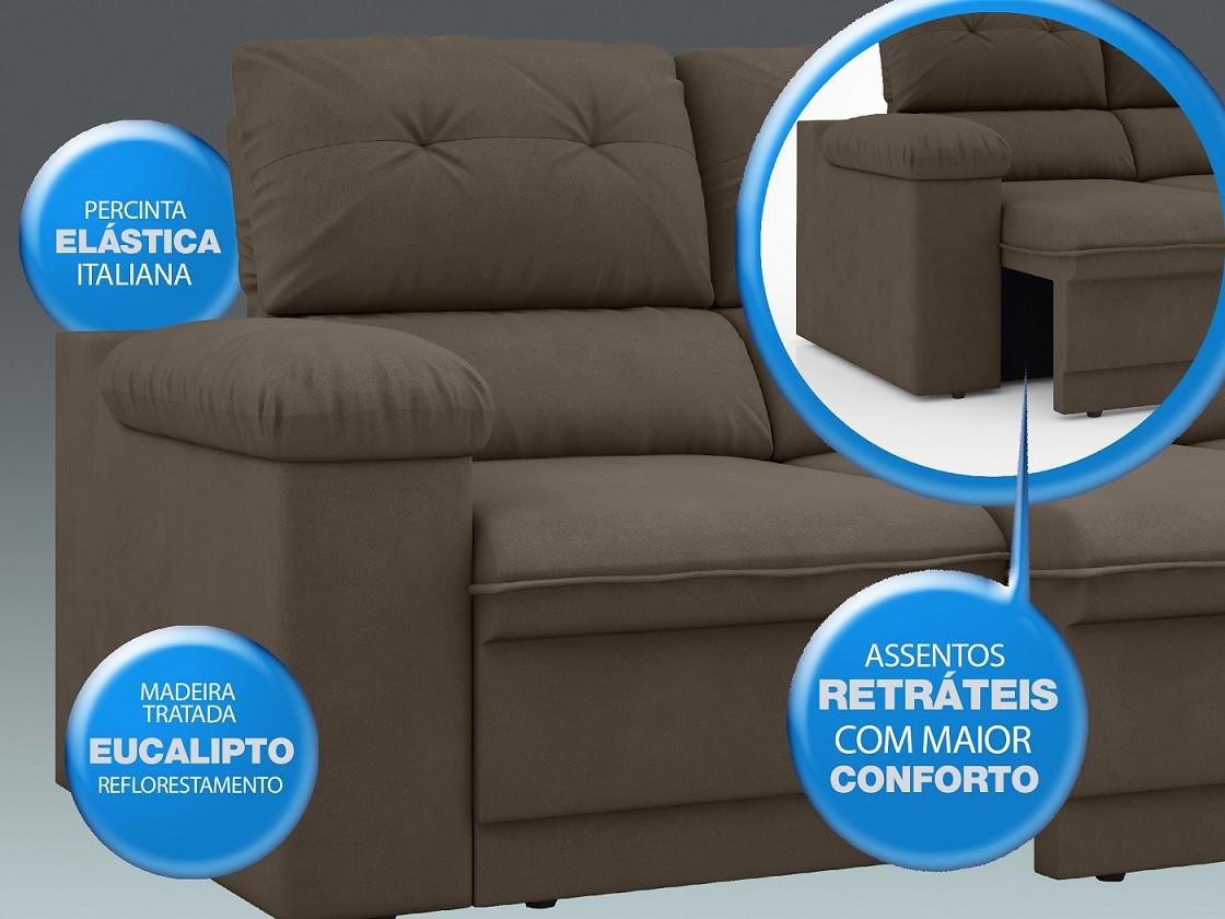 Sofá New Ripley 2,30m Assento Retrátil e Reclinável Velosuede Marrom - NETSOFAS  - NETSOFÁS