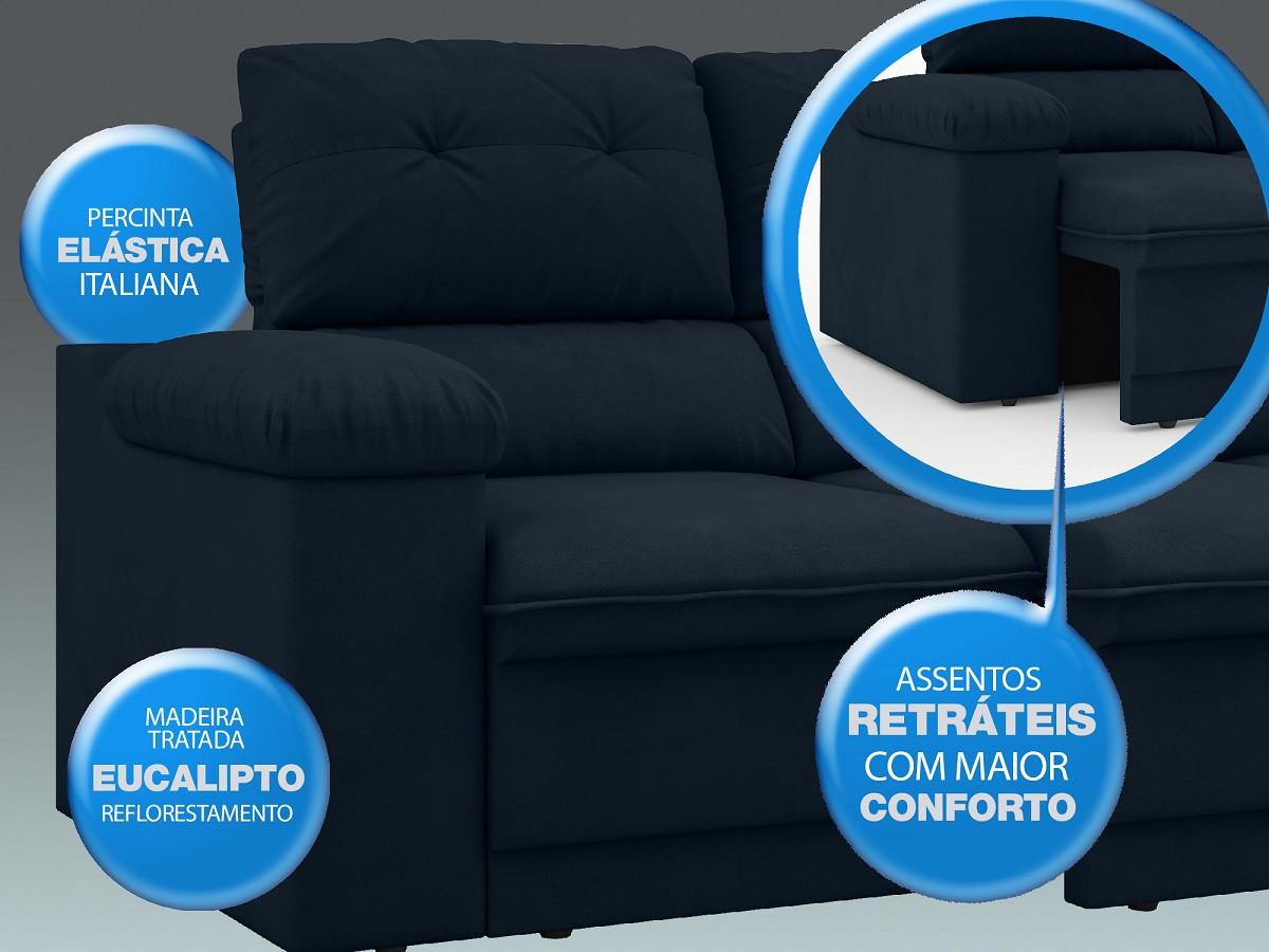 Sofá New Ripley 2,30m Assento Retrátil e Reclinável Velosuede Petróleo - NETSOFAS  - NETSOFÁS