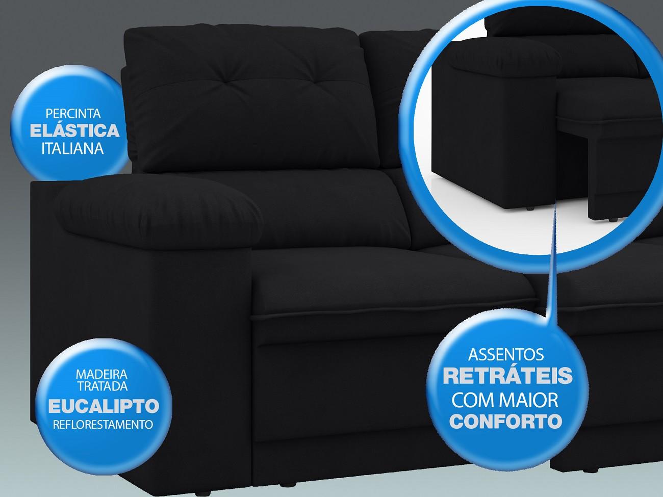 Sofá New Ripley 2,30m Assento Retrátil e Reclinável Velosuede Preto - NETSOFAS