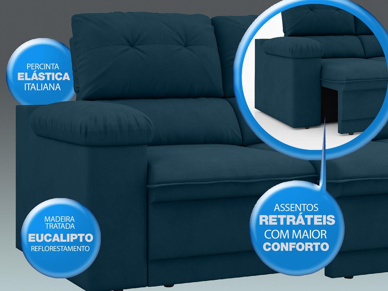 Sofá New Ripley 2,30m Assento Retrátil e Reclinável Velosuede Royal - NETSOFAS