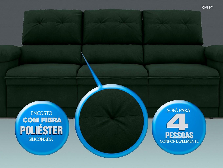 Sofá New Ripley 2,30m Assento Retrátil e Reclinável Velosuede Verde - NETSOFAS