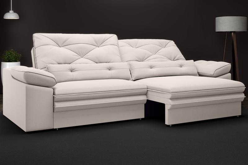 Sofá Oasis 2,10m Assento Retrátil e Reclinável Velosuede - NETSOFAS