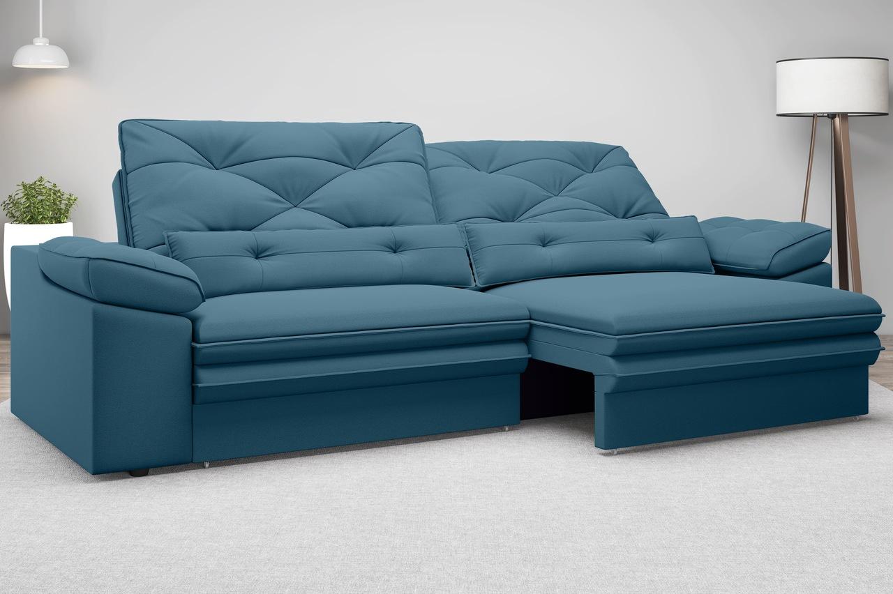 Sofá Oasis 2,10m Assento Retrátil e Reclinável Velosuede - NETSOFAS  - NETSOFÁS
