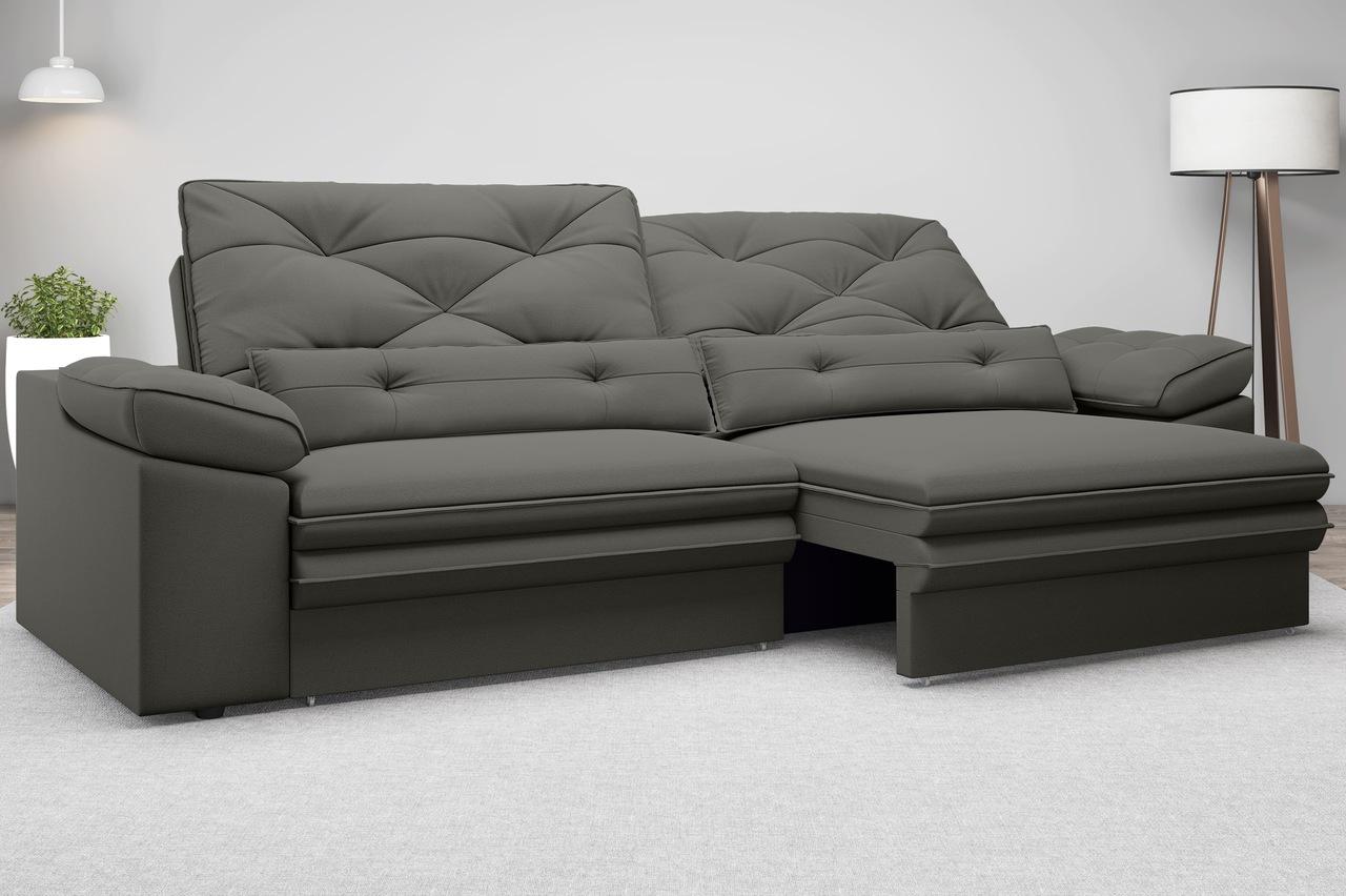 Sofá Oasis 2,30m Assento Retrátil e Reclinável Velosuede - NETSOFAS