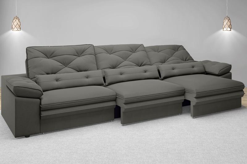 Sofá Oasis 2,90m Assento Retrátil e Reclinável Velosuede - NETSOFAS