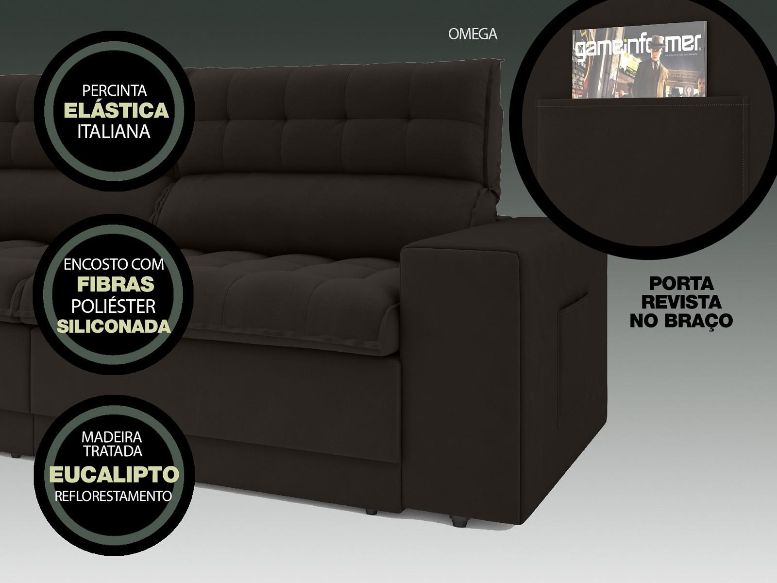 Sofá Omega 2,00m Assento Retrátil e Reclinável Velosuede Chocolate - NETSOFAS  - NETSOFÁS