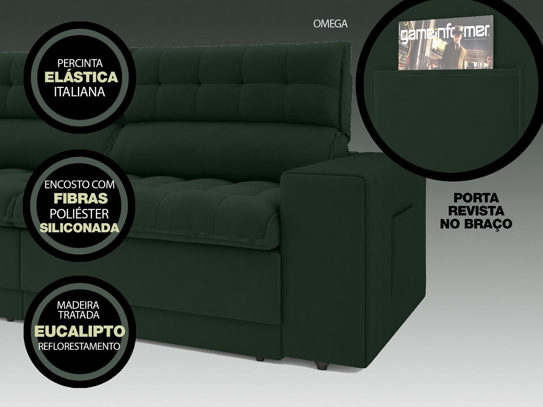 Sofá Omega 2,00m Assento Retrátil e Reclinável Velosuede Verde - NETSOFAS  - NETSOFÁS