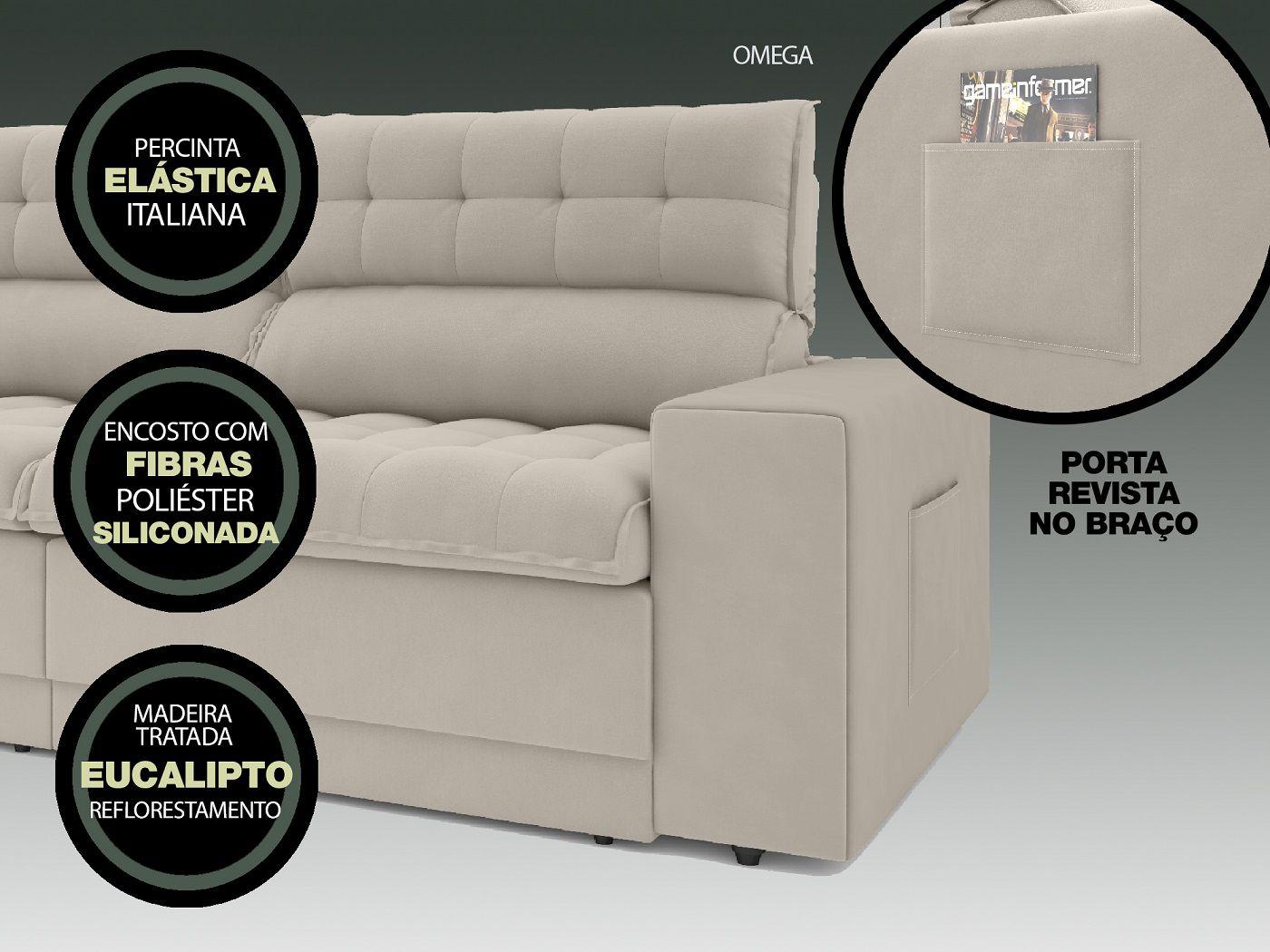 Sofá Omega 2,30m Assento Retrátil e Reclinável Velosuede Areia - NETSOFAS