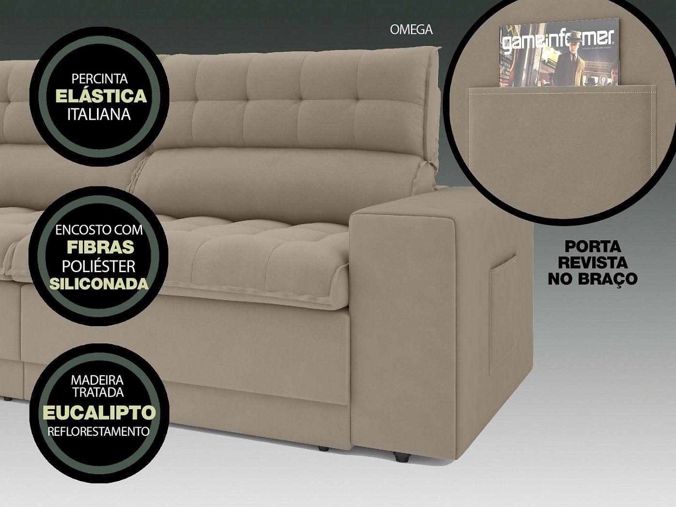 Sofá Omega 2,30m Assento Retrátil e Reclinável Velosuede Capuccino - NETSOFAS