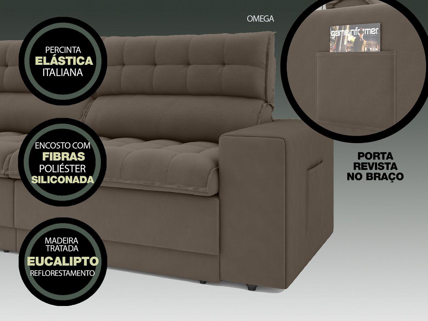 Sofá Omega 2,30m Assento Retrátil e Reclinável Velosuede Marrom - NETSOFAS  - NETSOFÁS
