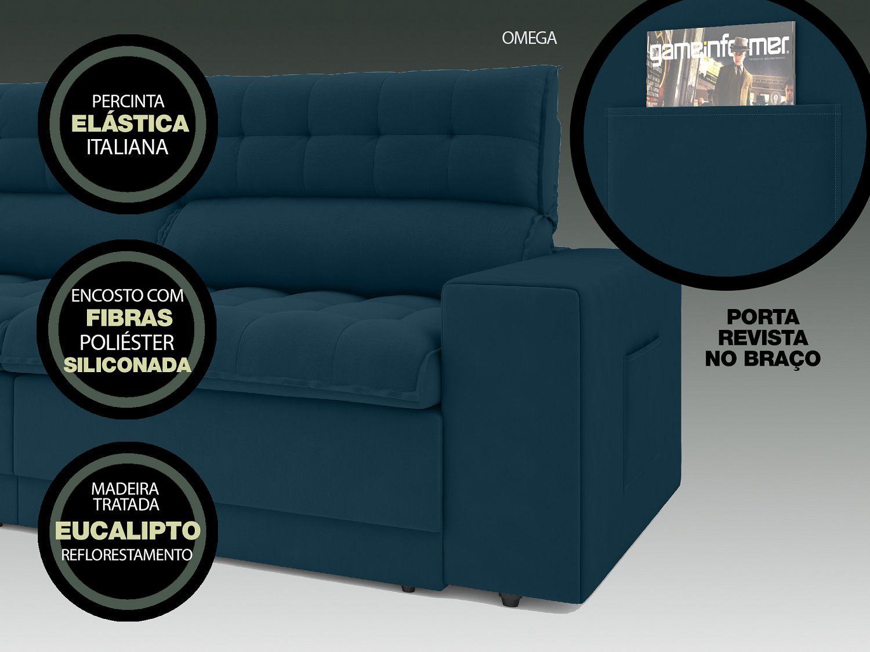 Sofá Omega 2,30m Assento Retrátil e Reclinável Velosuede Royal - NETSOFAS