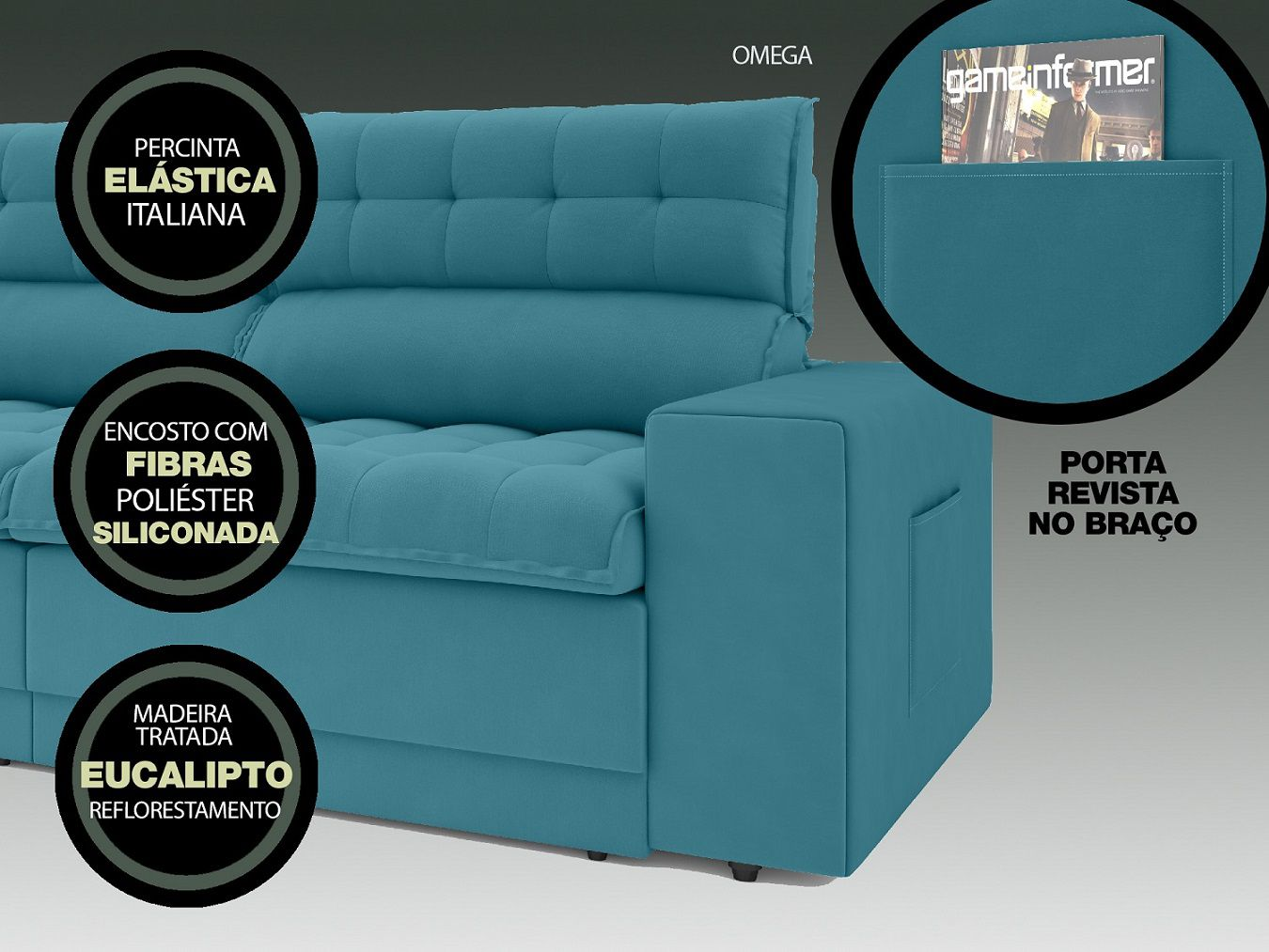 Sofá Omega 2,30m Assento Retrátil e Reclinável Velosuede Turquesa - NETSOFAS  - NETSOFÁS