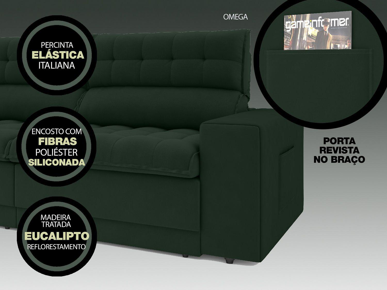 Sofá Omega 2,30m Assento Retrátil e Reclinável Velosuede Verde - NETSOFAS