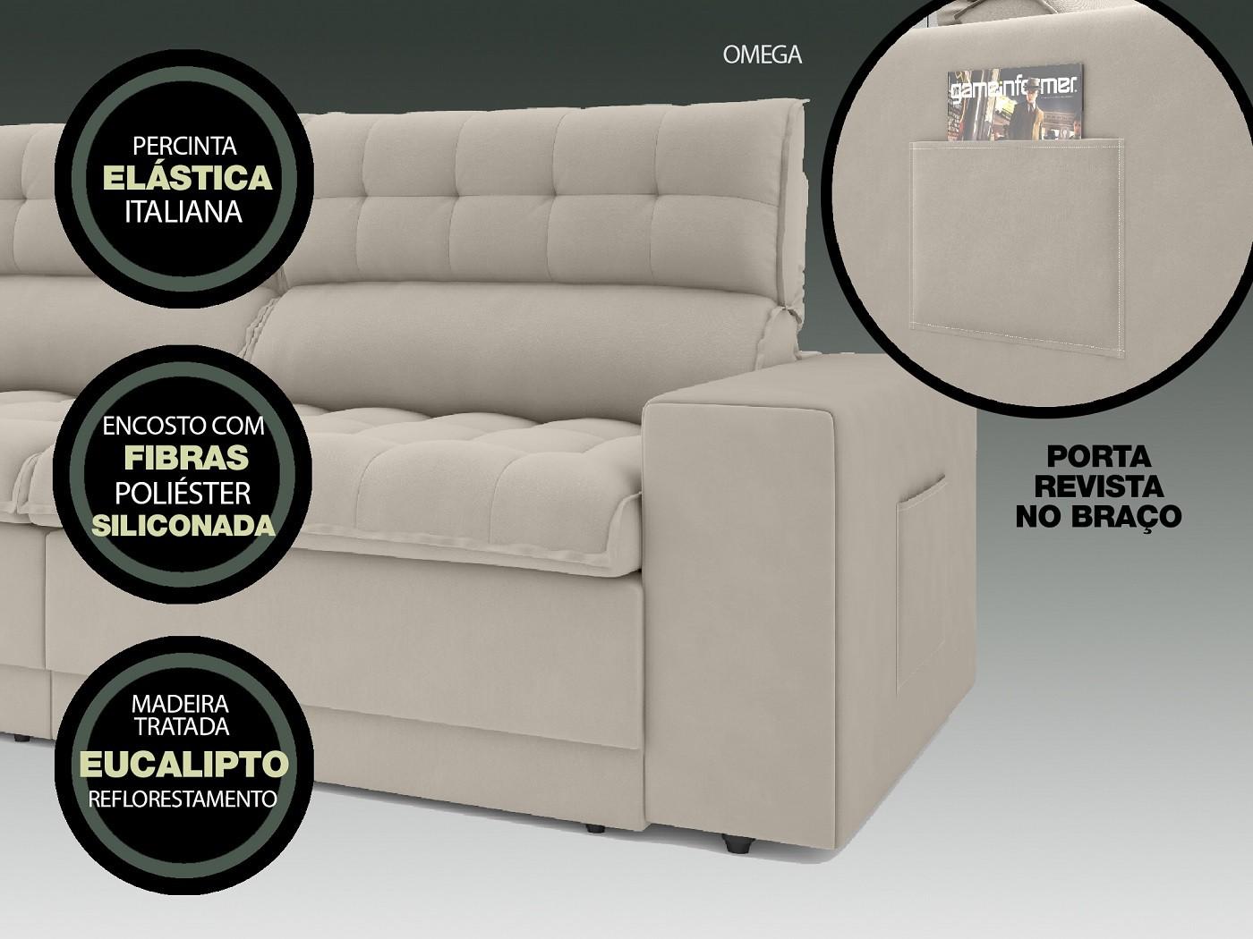 Sofá Omega 2,50m Assento Retrátil e Reclinável Velosuede Areia - NETSOFAS  - NETSOFÁS