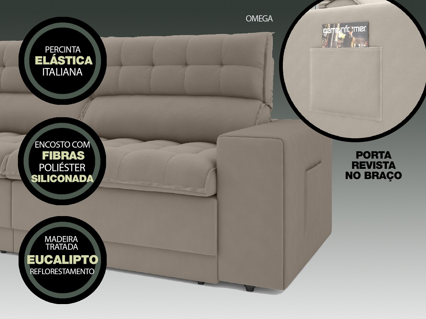 Sofá Omega 2,50m Assento Retrátil e Reclinável Velosuede Bege - NETSOFAS  - NETSOFÁS