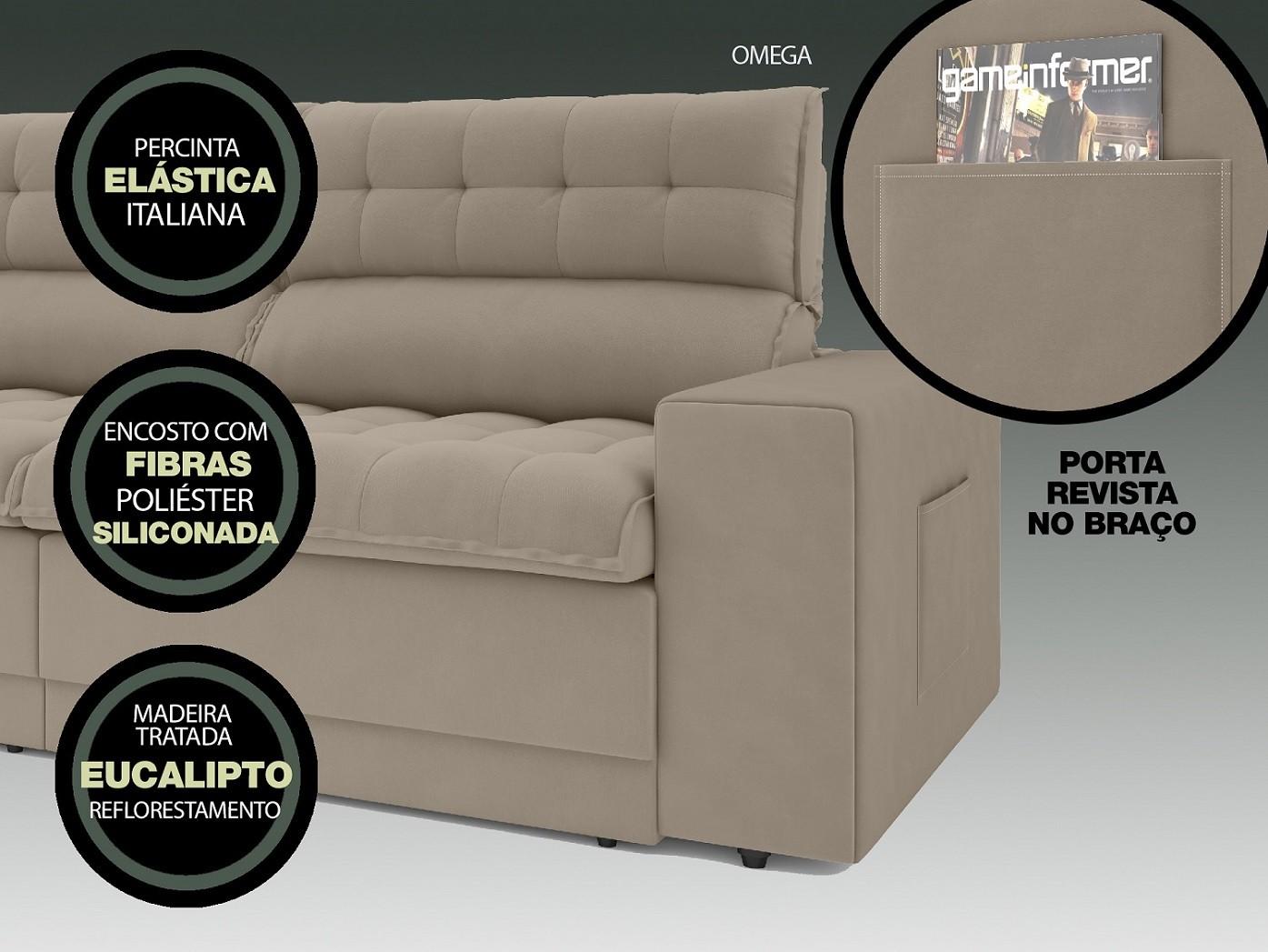 Sofá Omega 2,50m Assento Retrátil e Reclinável Velosuede Capuccino - NETSOFAS