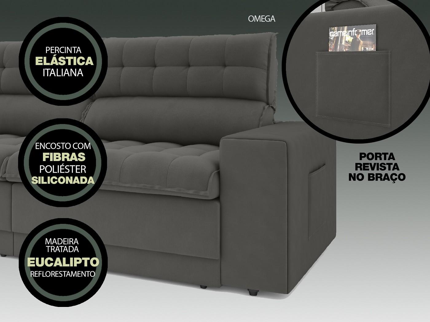 Sofá Omega 2,50m Assento Retrátil e Reclinável Velosuede Cinza - NETSOFAS  - NETSOFÁS
