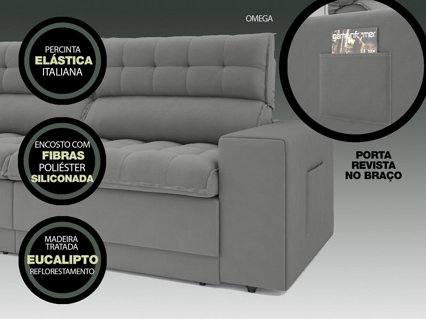 Sofá Omega 2,50m Assento Retrátil e Reclinável Velosuede Grafite - NETSOFAS  - NETSOFÁS