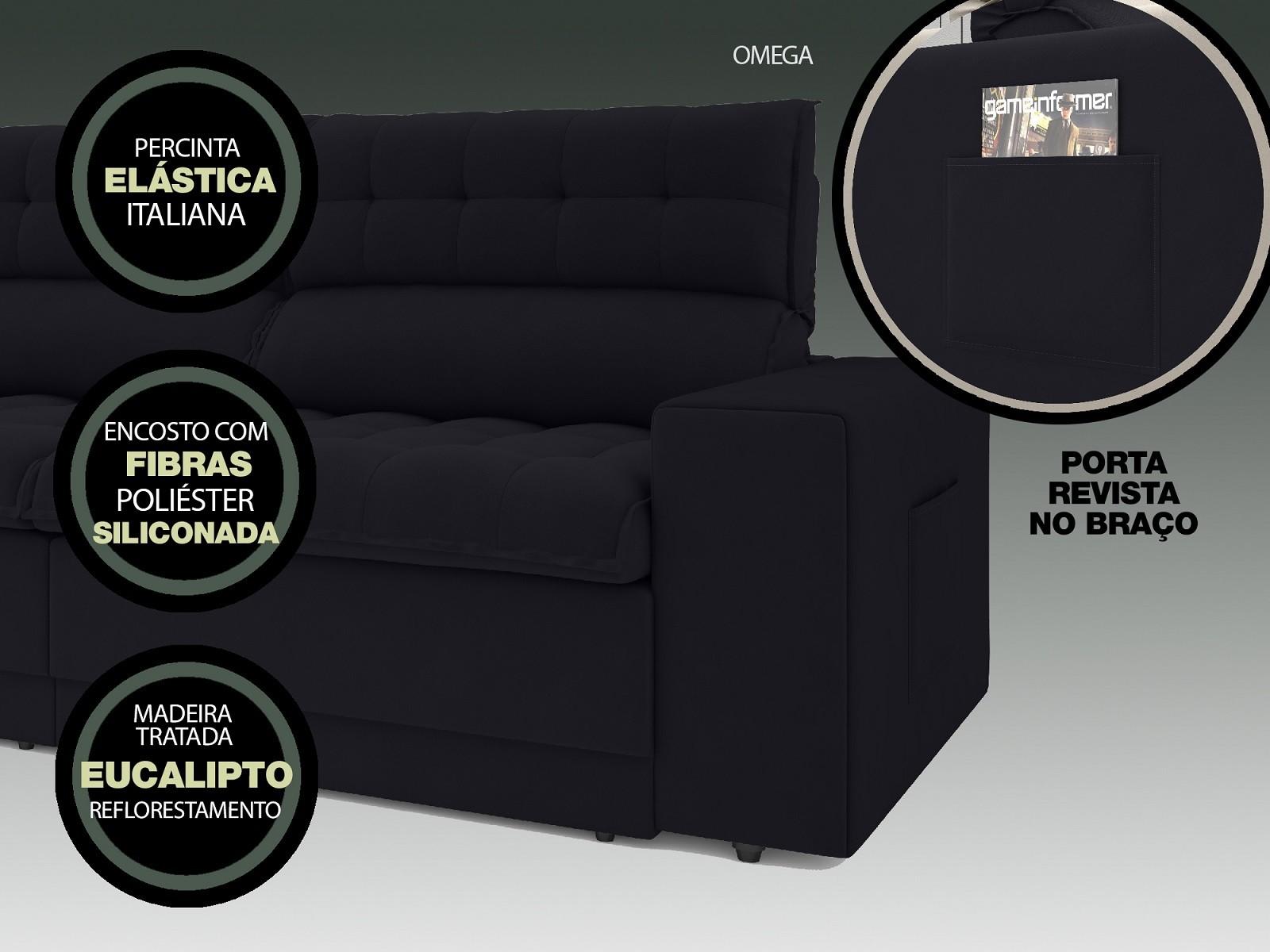 Sofá Omega 2,50m Assento Retrátil e Reclinável Velosuede Preto - NETSOFAS  - NETSOFÁS