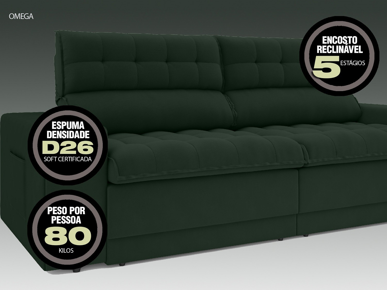 Sofá Omega 2,50m Assento Retrátil e Reclinável Velosuede Verde - NETSOFAS  - NETSOFÁS