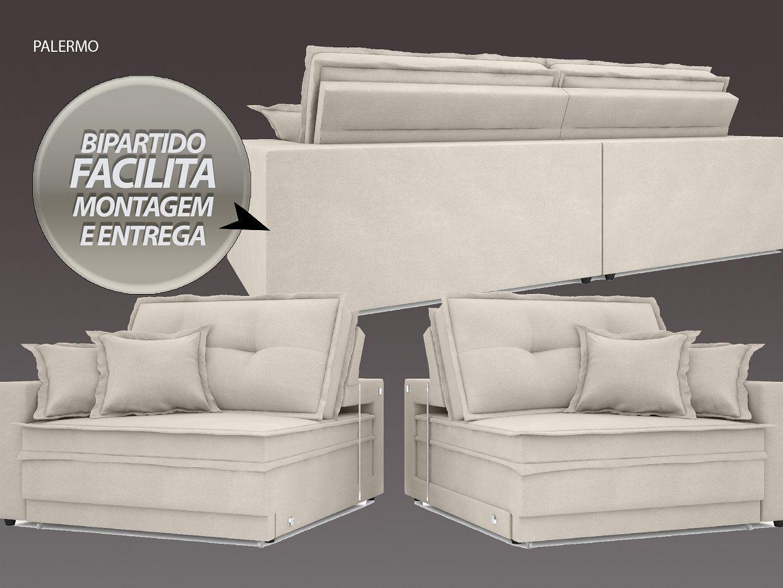 Sofá Palermo 2,20m Retrátil e Reclinável Velosuede Areia - NETSOFAS
