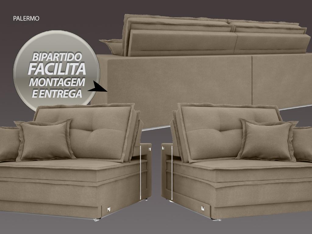Sofá Palermo 2,40m Retrátil e Reclinável Velosuede Capuccino - NETSOFAS  - NETSOFÁS