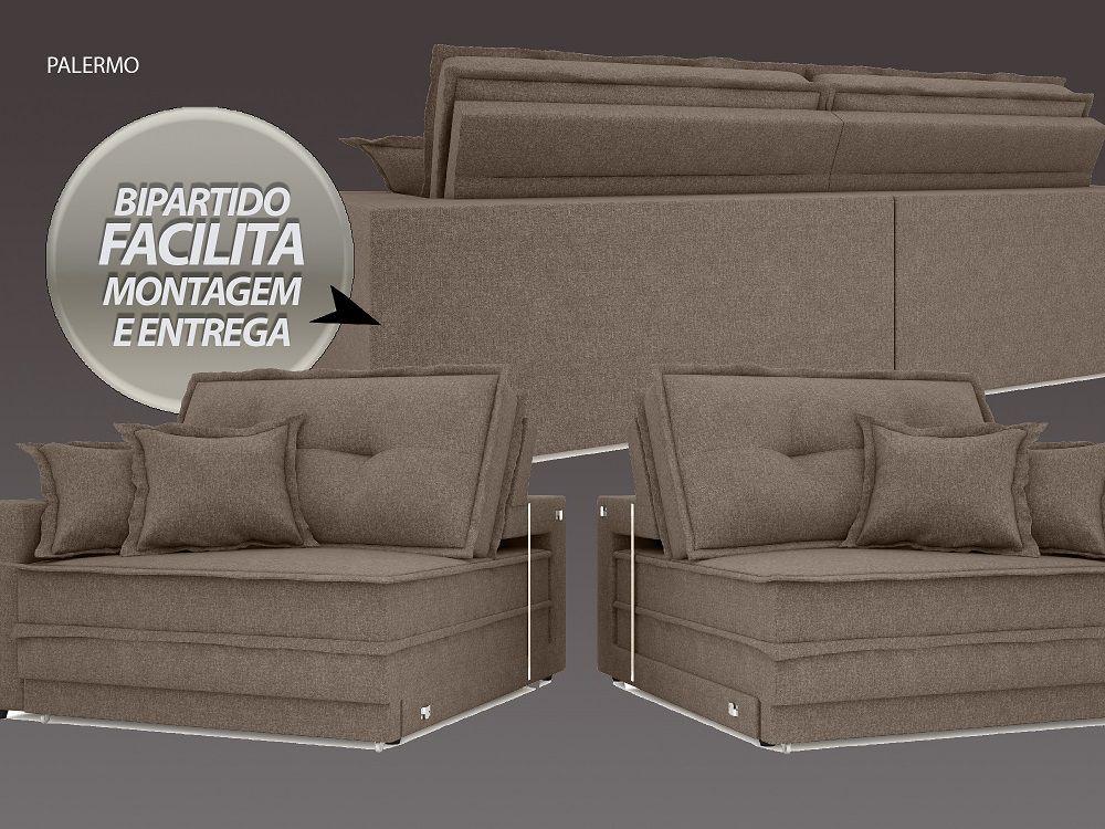 Sofá Palermo 2,60m Retrátil e Reclinável Naturale Linho  Bege - NETSOFAS  - NETSOFÁS