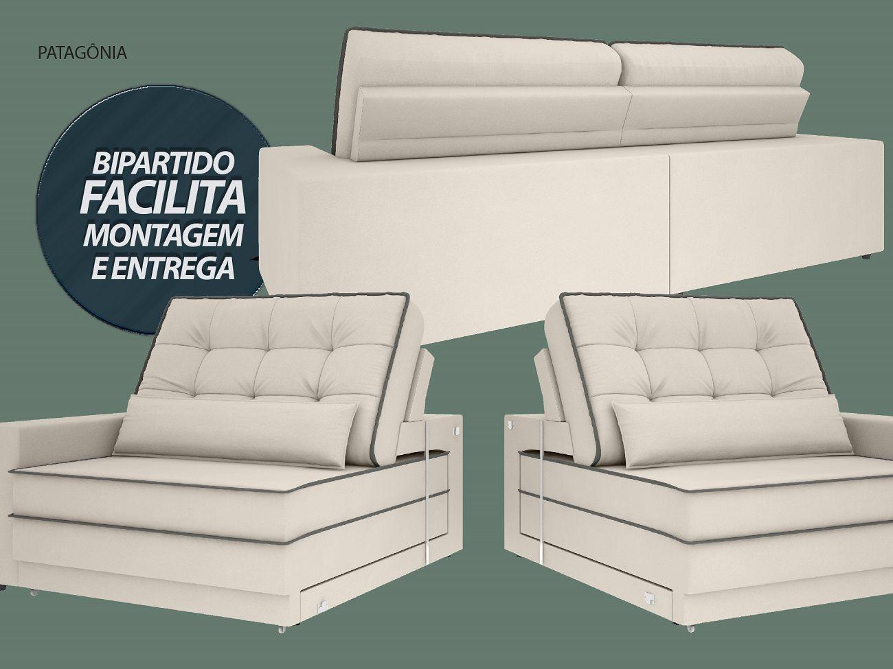 Sofá Patagônia 2,20m Retrátil e Reclinável Velosuede Areia - NETSOFAS