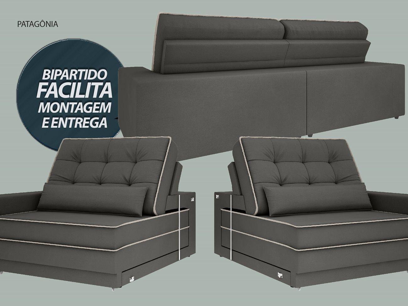 Sofá Patagônia 2,20m Retrátil e Reclinável Velosuede Cinza - NETSOFAS  - NETSOFÁS