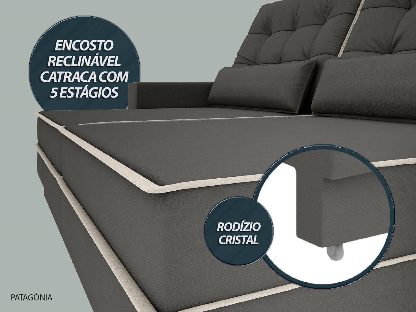 Sofá Patagônia 2,60m Retrátil e Reclinável Velosuede Cinza - NETSOFAS