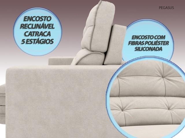 Sofá Pegasus 2,00m Assento Retrátil e Reclinável Velosuede Areia - NETSOFAS  - NETSOFÁS