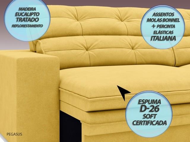 Sofá Pegasus 2,00m Assento Retrátil e Reclinável Velosuede Canário - NETSOFAS  - NETSOFÁS