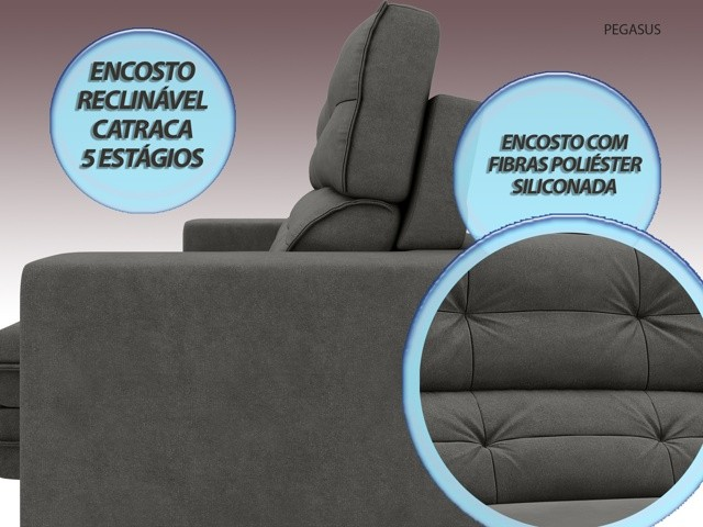 Sofá Pegasus 2,00m Assento Retrátil e Reclinável Velosuede Cinza - NETSOFAS  - NETSOFÁS