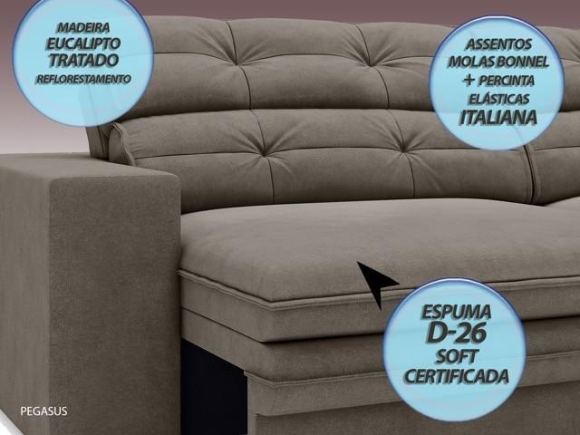 Sofá Pegasus 2,00m Assento Retrátil e Reclinável Velosuede Marrom - NETSOFAS  - NETSOFÁS