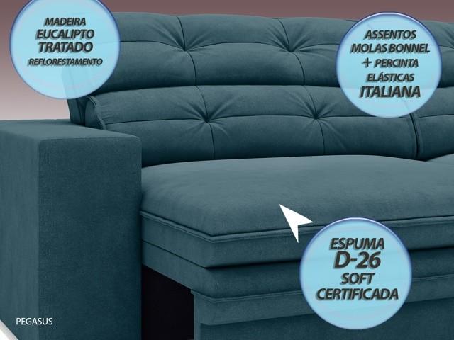 Sofá Pegasus 2,00m Assento Retrátil e Reclinável Velosuede Royal - NETSOFAS