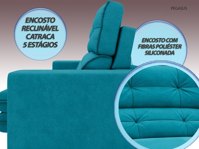 Sofá Pegasus 2,00m Assento Retrátil e Reclinável Velosuede Turquesa - NETSOFAS  - NETSOFÁS